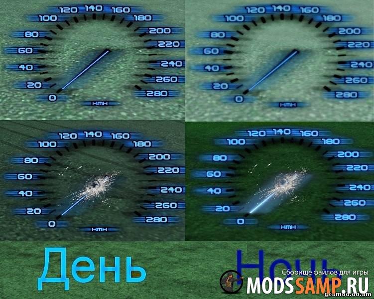 Синий прозрачный спидометр