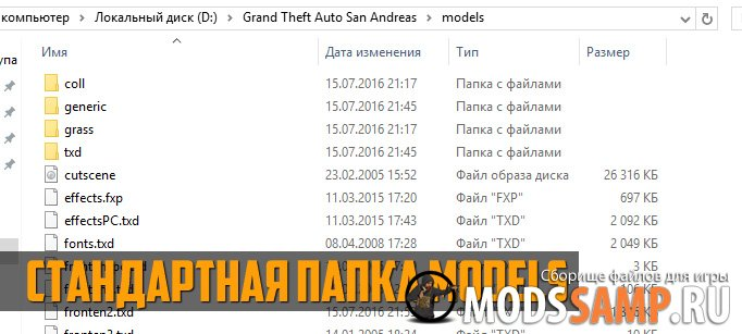 Стандартная папка Models для GTA:SA